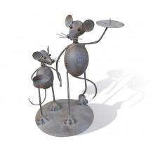 Подсвечник двойной Мышь с мышонком swa0363