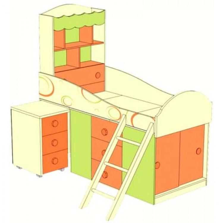 Мебель для детских комнат фруттис 7 (манго/лайм/желтый) купить за 55960 руб